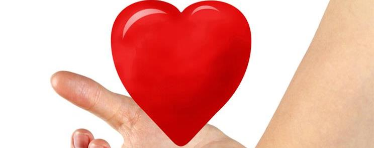 יד מחזיקה לב אדום